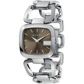 GUCCI G-GUCCI 經典品牌手鍊錶-咖啡+銀 YA125402