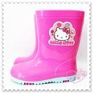 ♥小花花日本精品♥ Hello Kitty 立體臉止滑 耐髒兒童甜美 雨鞋出清賠售 桃紅 15cm 715941