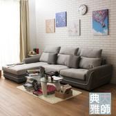 【典雅大師】Persis派西絲美型雙色L型沙發(共二色)灰+深灰-右