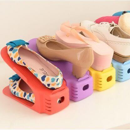 【Miss.Sugar】家居用品日韓式加厚一體式鞋托架收納鞋架簡易雙層塑料可調節鞋架