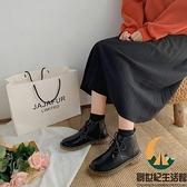 馬丁靴女日系文藝復古薄款百搭小短靴【創世紀生活館】