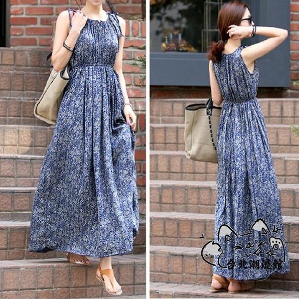 波西米亞洋裝 夏季連身裙人造棉背心裙寬鬆大碼棉綢圓領波西米亞藍色碎花長裙女 VK1753