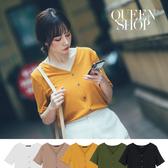 Queen Shop【01096493】V領坑條排釦短袖上衣 五色售*現+預*