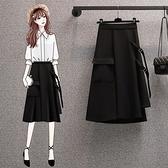 裙子半身裙開叉裙L-4XL中大尺碼鬆緊腰工裝口袋綁帶繫帶裙子R06B.5033胖胖唯依