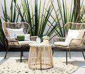 藤椅三件套 歐美户外桌椅庭院休闲茶几藤椅三件套阳台桌椅组合ins藤编椅室内 夢藝家
