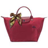 Longchamp 1623 LE PLIAGE 奔馬刺繡短提把中型尼龍摺疊水餃包(石榴紅-含帕巾)480207-C87