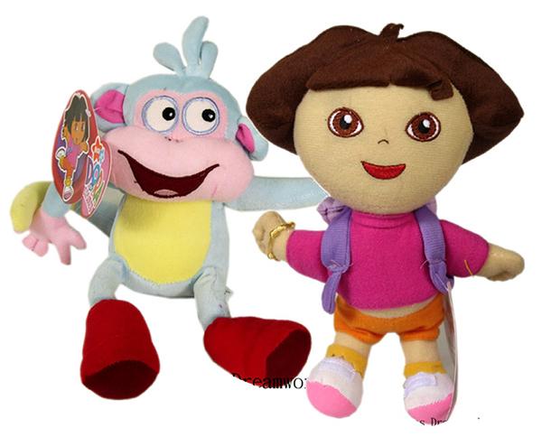 【卡漫城】 Dora & Boots 玩偶 二入組 22公分 絨毛 娃娃 布偶 朵拉 小猴子 女孩 卡通 愛探險 好朋友