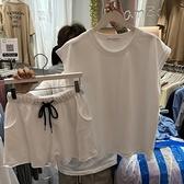港風洋氣休閒運動套裝女夏韓版寬鬆小個子顯高短褲無袖t恤兩件套