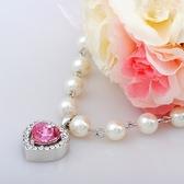 925純銀項鍊 水晶墜子-珍珠心型生日情人節禮物女飾品4色73aj445【巴黎精品】
