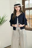 單一優惠價[H2O]多種穿法雙層喇叭袖台灣紗針織線衫 - 藍/白/粉色 #8690004