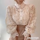 韓國chic春秋復古法式小眾設計感宮廷風上衣蕾絲立領長袖襯衫女 時尚芭莎