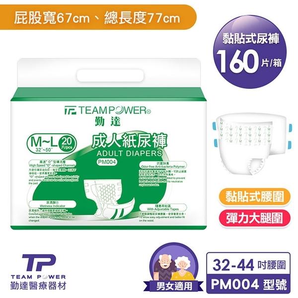 購箱單片9.5元►【勤達】M~L成人紙尿褲160片/箱20片裝/8包-PM004 O型導流層、隨意貼設計