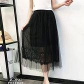新款韓版蕾絲拼接半身裙女高腰中長款仙女網紗百褶裙子女「夢娜麗莎精品館」
