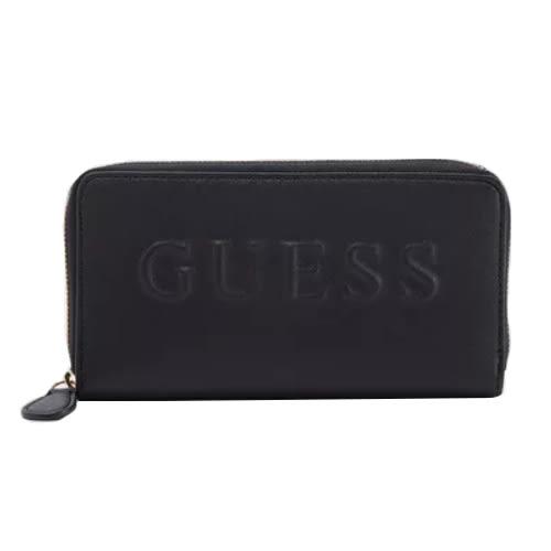 米菲客 GUESS G6826599 立體文字LOGO設計 時尚素面款 十字紋防刮皮革 長夾 皮夾(黑)