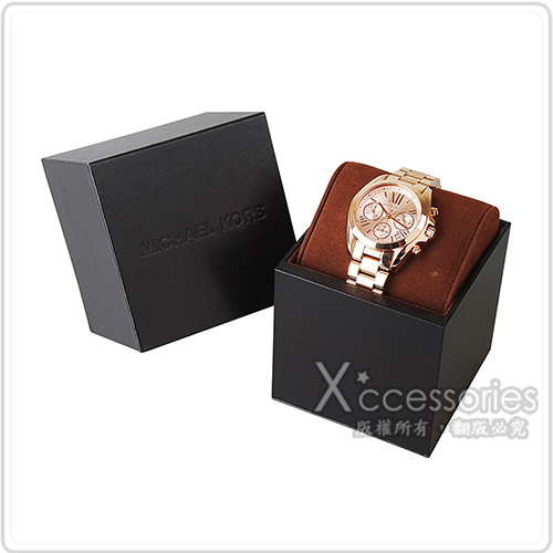 MK MICHAEL KORS 經典三眼計時疊釦式女仕腕錶(玫瑰金)