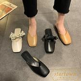 包頭拖鞋女外穿時尚百搭低跟半拖方頭穆勒鞋【繁星小鎮】