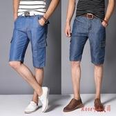 牛仔短褲 2020男直筒寬鬆休閒大碼五分褲子夏季薄款中褲多袋工裝褲 OO13237【Rose中大尺碼】
