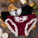 →女 三角褲←新品冰絲 低腰內褲 蕾絲邊 少女 女仆 撞色內褲 透氣萌妹子 女生內褲 XS_S82