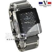 valentino coupeau范倫鐵諾 簡約晶鑽時刻方形菱格紋男錶 防水手錶 不銹鋼 IP黑電鍍 V61222黑大