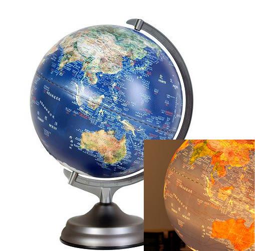 里和家居 l 12吋衛星原貌/金屬底座/觸控三段式/立體地球儀 小夜燈 觸控燈