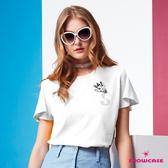 【SHOWCASE】休閒S鑽挖背紐結造型T恤(白色)