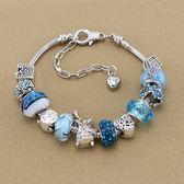 串珠手鍊-精美藍色系列琉璃飾品時尚女配件73kc119【時尚巴黎】