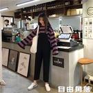大碼背帶牛仔褲女春秋韓版學生寬鬆bf吊帶九分直筒褲 自由角落