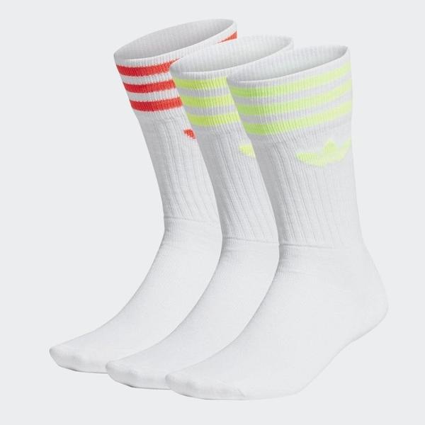 J-adidas Original 三葉草 橘 螢光綠 休閒襪 運動襪 中筒襪2入一組 愛迪達 FM0625