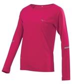 MIZUNO 女裝 上衣 長袖 運動 慢跑 休閒 T恤 吸汗 快乾 透氣 反光 莓果紅 桃紅【運動世界】J2TA873365