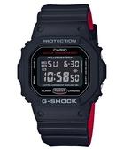 CASIO卡西歐G-SHOCK紅與黑視覺概念運動錶 DW-5600HR-1