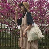 無袖洋裝 春夏新款韓版復古小清新寬鬆高腰無袖背心A字娃娃裙洋裝女學生·夏茉生活