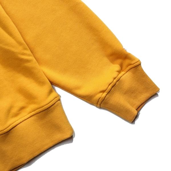 KANGOL 芥末黃 黃 米白 刺繡字 大學T 長袖 圓領T 冬季服飾  女 (布魯克林) 6952100462