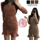 EASON SHOP(GW8524)韓版純色荷葉邊拉皺抽繩斜邊交錯V領長袖連身裙女彈力貼身內搭薄款洋裝包臀短裙