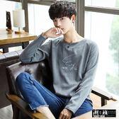 『潮段班』【HJA3TX05】韓版簡約草寫素面純色舒適長袖T恤