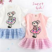 櫻桃洋裝搖花兔兔拼接紗格紋上衣小洋裝(270052)★水娃娃時尚童裝★