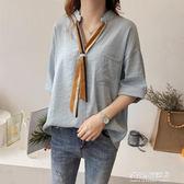 夏裝女裝新款時尚條紋領帶襯衫女短袖上衣寬鬆顯瘦韓版襯衣潮 多莉絲旗艦店