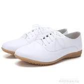 小皮鞋2020秋新款牛筋女鞋真皮小白鞋女軟底小皮鞋休閒鞋平底百搭女單鞋 萊俐亞