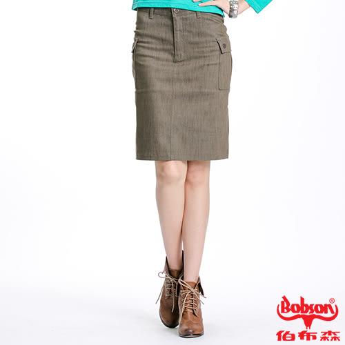 BOBSON 女款貼袋伸縮短裙(D063-41)
