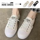 [Here Shoes] 3CM休閒鞋 百搭針織舒適透氣 假綁帶平底圓頭包鞋 小白鞋-KE711