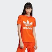 L-adidas ORIGINALS TREFOIL TEE 短T 橘色 基本 三葉草 女款 ED7494