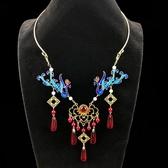 珍珠瓔珞明制襖裙燒藍項圈古裝漢服景泰藍配飾品鳳凰古風項鍊 - 歐美韓