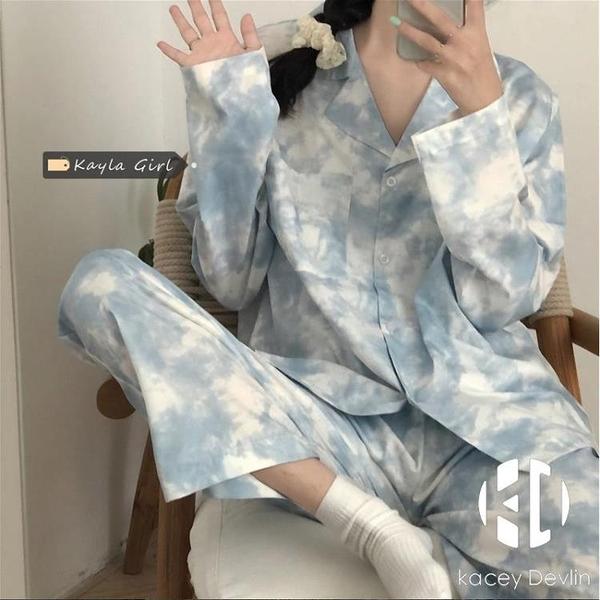 情侶睡衣套裝女扎染家居服可外穿長袖兩件套【Kacey Devlin】