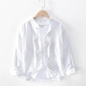 日系長袖圓領亞麻襯衫男士休閑透氣柔軟白色寬松立領棉麻布襯衣男