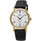 【台南 時代鐘錶 SEIKO】精工 Premier 典雅羅馬時尚手錶 皮帶 SXB432J1@7N89-0AY0K 金/ 黑 30mm