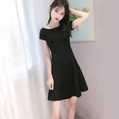 洋裝女夏2021新款一字領黑色顯瘦氣質收腰減齡裙子赫本風小黑裙 【端午節特惠】
