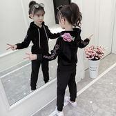 套裝 女童秋裝套組好康推薦新品正韓兒童裝時髦運動中大童金絲絨兩件式潮衣