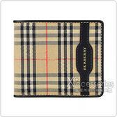 BURBERRY 1983年金字LOGO尼龍8卡對折短夾(黑)