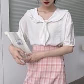 襯衫夏季韓國訂單女裝時尚拼接木耳邊領短袖套頭復古文藝小清新襯衫可卡衣櫃