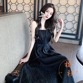 吊帶連衣裙女夏季時尚褶皺收腰顯瘦長裙氣質【橘社小鎮】