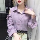 限時特價 格子襯衫女設計感小眾秋季新款時尚寬松顯瘦心機露肩長袖上衣